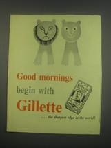 1949 Gillette Razor Blades Ad - Good mornings begin with Gillette - $14.99