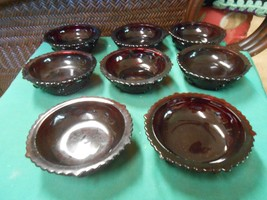 "Great AVON ""Cape Cod"" RUBY RED Set of 8 BERRY / DESSERT Bowls - $39.19"