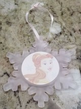 Disney Belle Beauty & the Beast Snowflake frosted glass ornament Christmas 2000 - $8.79