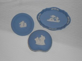 3 Wedgwood England Pieces Blue Jasperware Trinket Box Pin Dish Wedgewood - $38.61