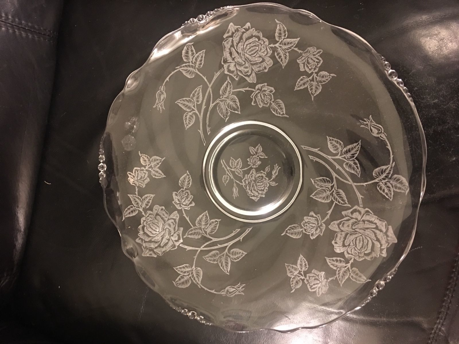 "Primary image for Heisey Waverly Rose Platter  - 14"" - Roses - 1950s, Round"