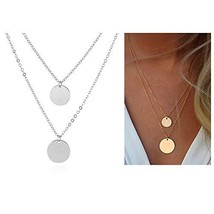 WLL Double Gold Layered Chain Necklace Simple Disc Round Sequin Coin Nec... - $14.94