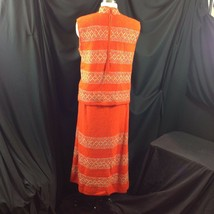 Vtg St John Knits Wiggle Groovy Hostess Sweater Dress Orange Gold Metallic M image 2