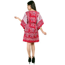 Elephant Short Ravishing Kaftan~Beachwear V-Neck Red Caftan Tunic~Free Size - $9.12