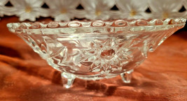 "Vintage Starburst Three Legged Pressed Glass Candy Condiment Bowl 7"" Diameter"