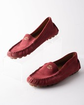 Coach Amber Womens Driving Moccasins Loafers Suede Size 7.5 Maroon Red A00277 - $59.39