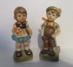 "Vintage Set of 2 Made In Japan Ceramic Blond Boy & Girl 6"" Figurines - $17.00"