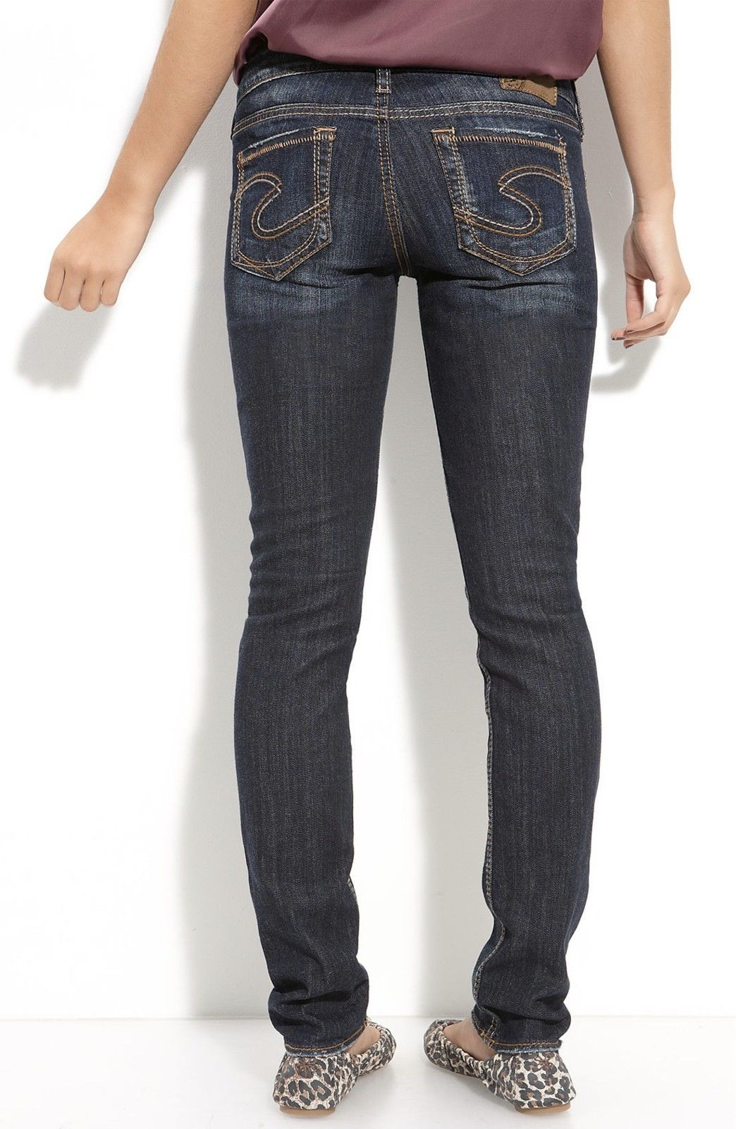 eafc8cde S l1600. S l1600. Previous. New SILVER Jeans Sale Buckle Mid Rise Aiko Dark  Skinny Stretch Jean 24 X 31