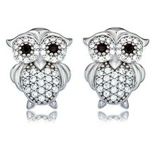 Sterling Silver Signity CZ Pave Owl With Black Eyes Stud Earrings Vermeil-Art - $39.59