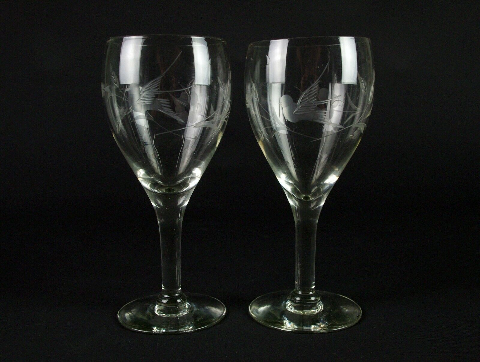 Primary image for Fostoria 863 Goblets Set with Gray Cut Bird and Floral, Antique Elegant Glass 7""