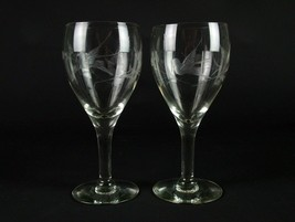 Fostoria 863 Goblets Set with Gray Cut Bird and Floral, Antique Elegant ... - $39.20
