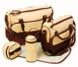 5 PC BABY DIAPER BAG and PAD - 2 Bags -  Brown  -  Ships FREE from NY - $27.99