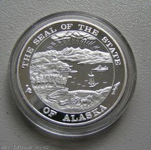 Alaska Mint Sled Dog Husky Silver Medallion Proof 1Oz - $98.99