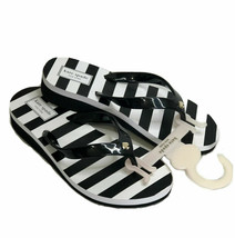 Kate Spade Ny Milli Black White Stripe Bow Flip Flops Sandals Low Wedge 6 M New - $34.16