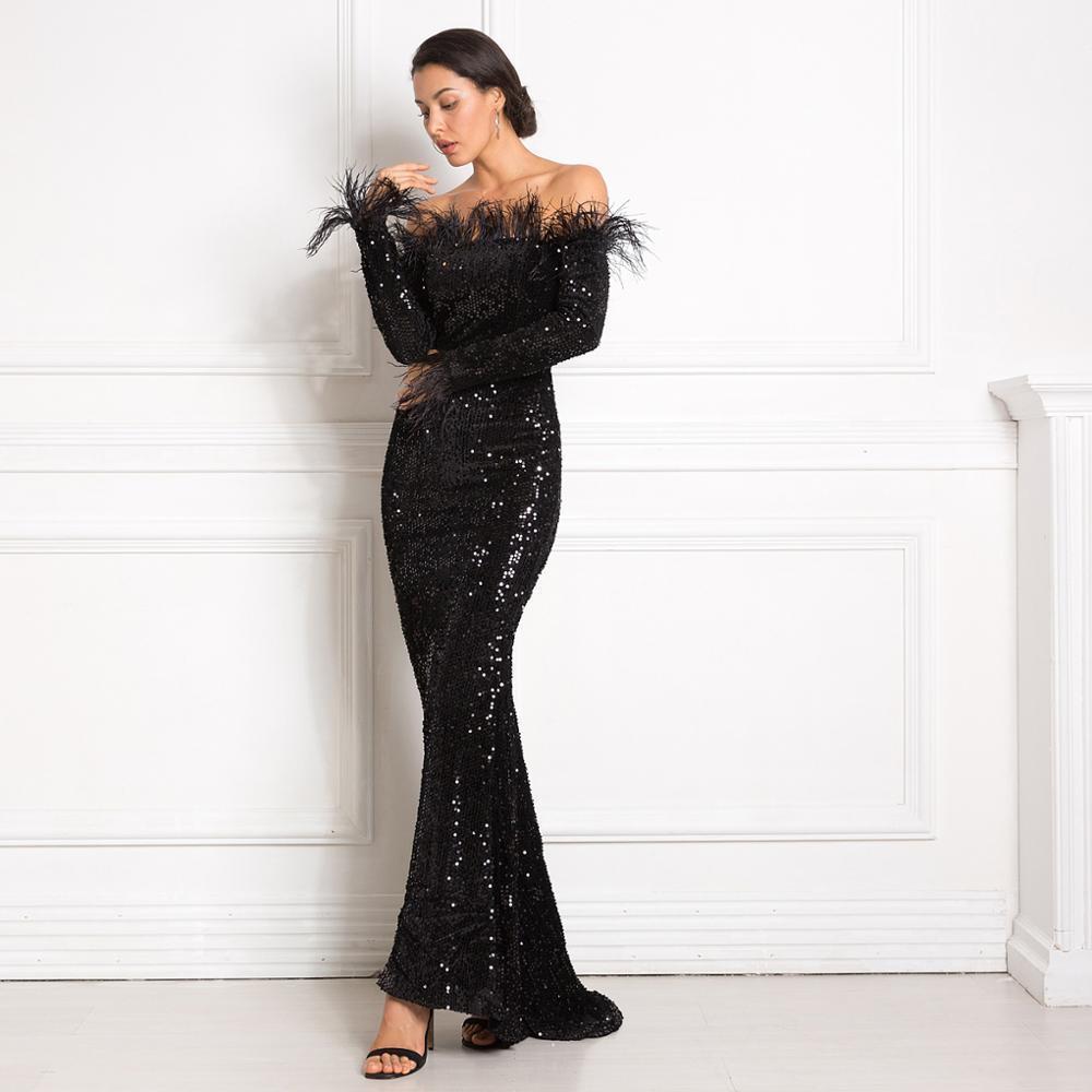 Chwork sequined maxi dress slash neck stretch bodycon floor length sleeveless long evening party