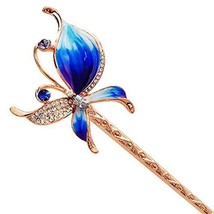 Classical Hair Stick Butterfly Ladies/Girls Hair Stick Dish Hair Headwear(Blue)