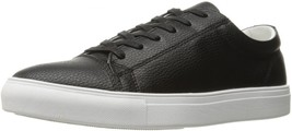 NEW $100 STEVE MADDEN BLACK TUMBLED LEATHER BOUNDED LT WEIGHT SNEAKERS s... - $29.69