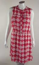 Merona Womens Size Medium Pink White Abstract Button Down Front Dress NWOT - $12.19