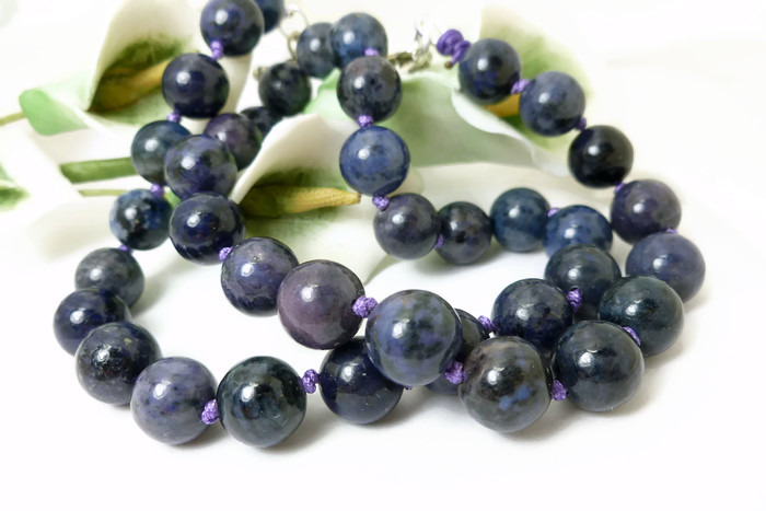 Primary image for Purple Dumortierite Gemstone Round Beaded Necklace