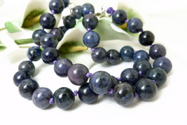 Purple Dumortierite Gemstone Round Beaded Necklace - $58.00