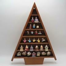 Wood Christmas Tree Figurine Display w/ Set of Hallmark Ornaments Disney... - $148.49