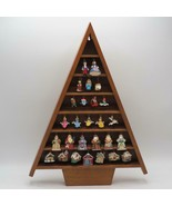 Wood Christmas Tree Figurine Display w/ Set of Hallmark Ornaments Disney... - $148.49