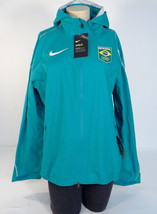 Nike Shield Team Brazil Teal Zip Front Hooded Running Jacket Brasil Wome... - $262.49
