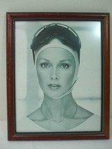 Vintage Framed Art Deco Girl Modeling Silver Jewelry Photo in Brown Wood... - $19.26