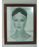 Vintage Framed Art Deco Girl Modeling Silver Jewelry Photo in Brown Wood... - $19.75