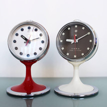 FIVE RAMS Alarm Clock UNUSUAL Top! Mid Century Chrome Rare Pedestal Spac... - $225.00