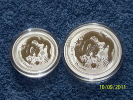2012 Australian Silver Year of Dragon 1/2 OZ & 1 OZ (Set of 2 coins). - $70.99