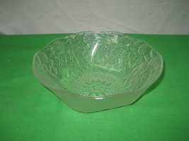 """Vintage Ornate Clear Glass Dish Floral Embossed 7.5"""" Candy Bowl - $10.35"""