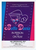 ORIGINAL Vintage 1974 Bette Davis In Person and On Film 7x10 Poster Pitt... - $103.94