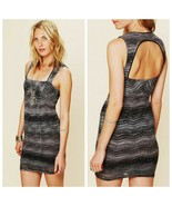 Free People 0 Black Gray Lace All You Ever Wanted Cut Out Bodycon Dress ... - $39.59
