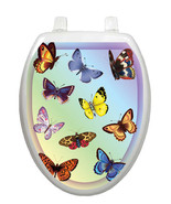 Toilet Tattoos Toilet Lid Cover  Decor Butterfly Dreams Blue Reusable Vinyl - $16.99