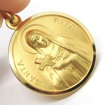 SOLID 18K YELLOW GOLD HOLY ST SAINT SANTA RITA ROUND MEDAL MADE IN ITALY, 15 MM image 4