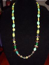 VTG Un-named Artist Made Glass Art, Plastic, Flower Beaded Necklace - $9.90