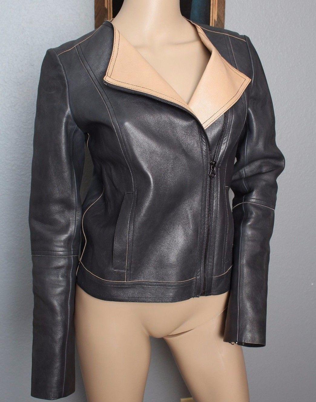Vince BUTTER SOFT Gunpowder Dark Gray Black Tan 100% Leather Motorcycle Jacket S - $379.99