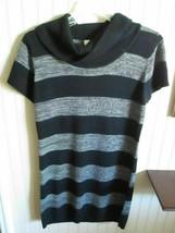 # BOBBIE BROOKS LADIES SWEATER DRESS SIZE 1X GRAY / BLACK STRIPE NWT - $15.84