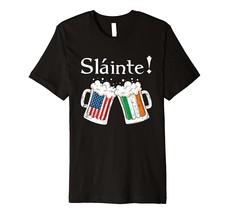 Slainte Shirt Irish Cheers Toast Beer American Irish Flag Premium T-Shirt - $15.99