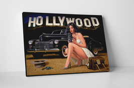 Vargas Inspired Sexy Pin Up Hollywood Detective Mounted Canvas Wall Art - $44.90+