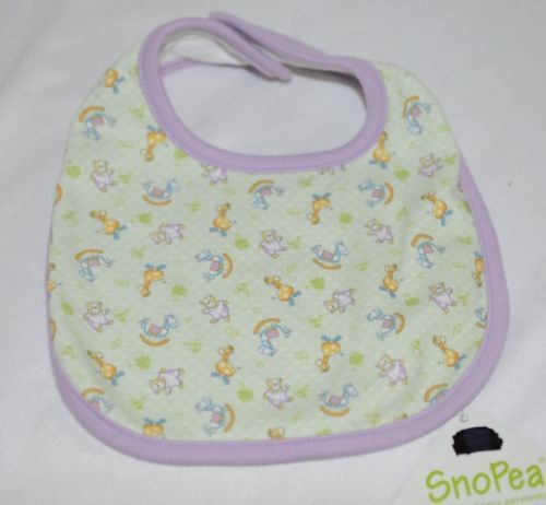 SnoPea Baby Unisex Bib Snap Closure Purple Green Animal Design