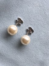 Authentic Chanel Classic Crystal CC Pearl Silver Earrings  image 8