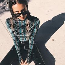 SIBYBO Snake Skin Grain Print Bodysuit Women Tops Long Sleeve Autumn Winter Turt - $35.68+