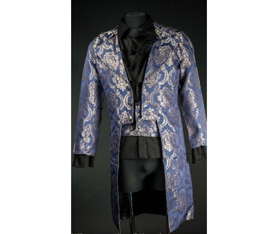 NWT Men's Blue Brocade Steampunk Victorian Goth Vampire Tailcoat Jacket