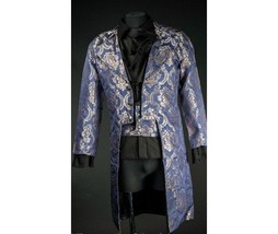 NWT Men's Blue Brocade Steampunk Victorian Goth Vampire Tailcoat Jacket - $149.99