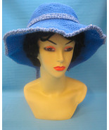 Crochet Fun Sun Hat Japanese Chin Dog Blue Woman Handmade by Bren - $27.00