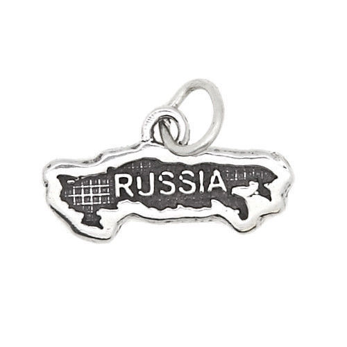 STERLING SILVER TEXTURED COUNTRY MAP OF RUSSIA TRAVEL CHARM OR PENDANT