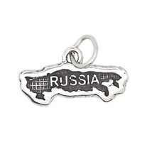 Sterling Silver Textured Country Map Of Russia Travel Charm Or Pendant - $13.51