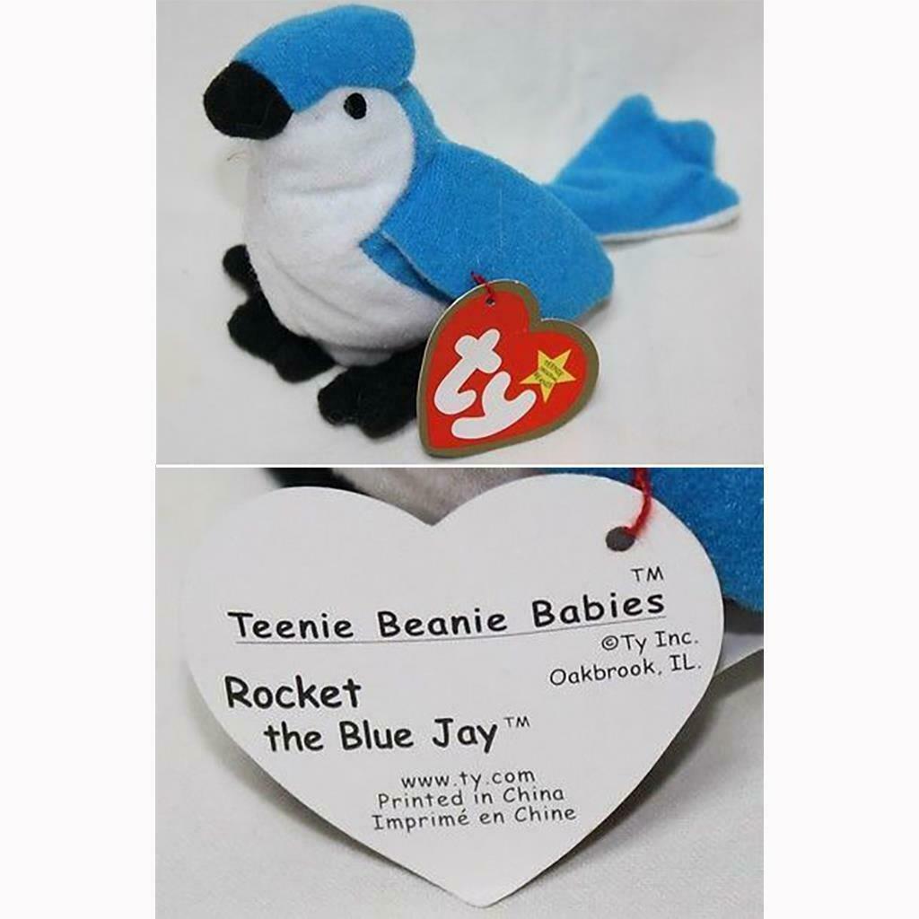 Rocket The Blue Jay #5 McDonalds Ty Teenie Beanie Baby 1999 Happy Meal MWMT NIP